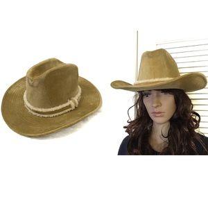 Vintage • Faux Suede Shearling Cowboy Hat 7-7 1/8